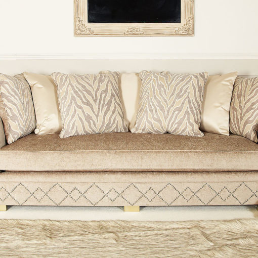 Bijou Handmade Light Taupe Glamour 3 Seat Sofa With Accent Cushions