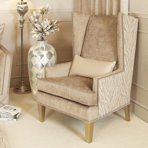 Bijou Handmade Light Taupe Glamour High Back Armchair With A Cushion