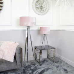 Chrome Hollywood Table Lamp with 13-inch Blush Pink Stencil Shade