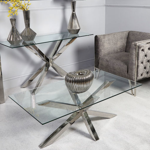 Debonaire Glass And Chrome Coffee Table