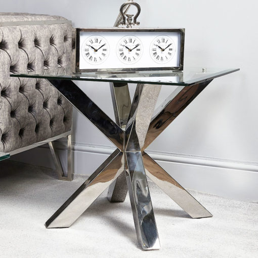 Debonaire Glass And Chrome End Side Table