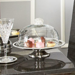 Diamond Glitz Clear Glass Cake Dome On Nickel Stand 32cm