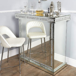Diamond Glitz Mirrored Wine Bar With Crystal Edging And Wine Storage