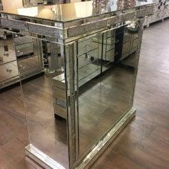 Diamond Glitz Mirrored Wine Bar With Crystal Edging And Wine Storage