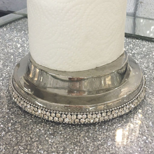 Diamond Glitz Nickel Crystal Encrusted Kitchen Roll Holder Stand