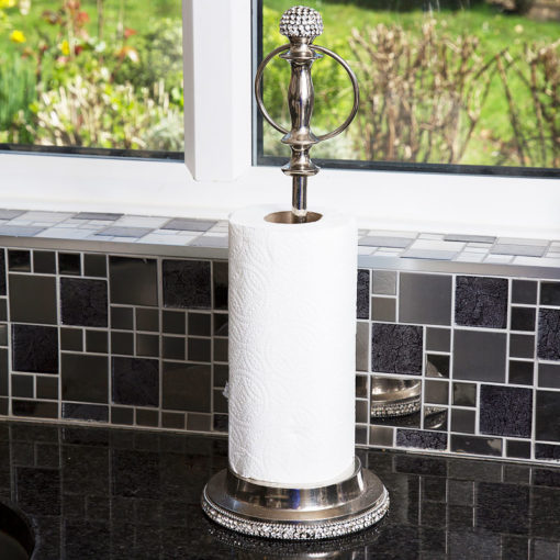 Diamond Glitz Nickel Crystal Encrusted Kitchen Roll Holder Stand