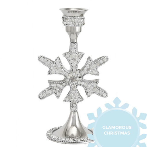 Diamond Glitz Nickel Snowflake Christmas Dinner Candle Holder