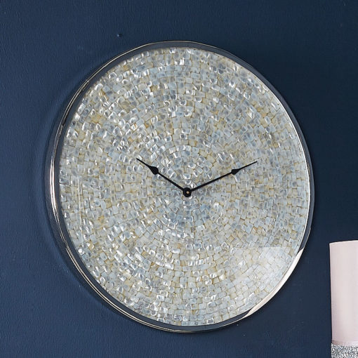 Ella 60cm Wall Clock With A Nickel Base And A Mother Of Pearl Mosaic