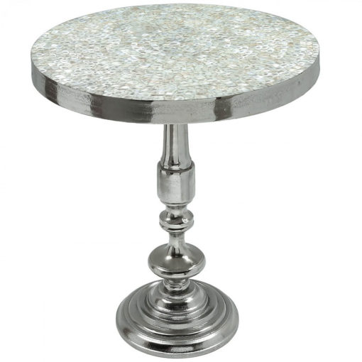 Ella End Table With A Nickel Base And Mosaic Mother Of Pearl Table Top