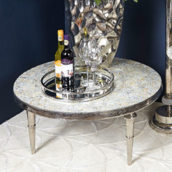 Ella Pearlescent Coffee Table With Nickel Base And Trumpet Style Legs