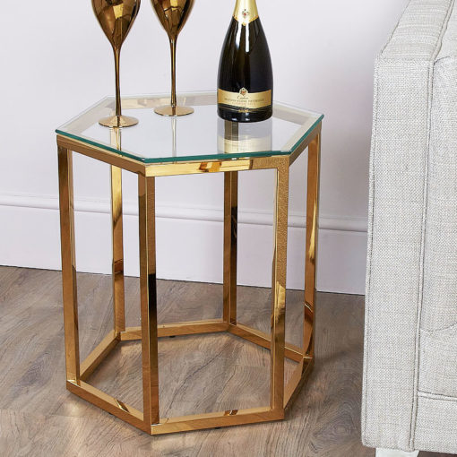 Fleur Hexagon Gold Metal End Side Table With Toughened Clear Glass Top