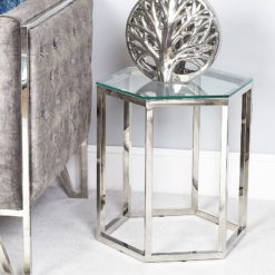 Fleur Hexagon Silver Stainless Steel End Side Table