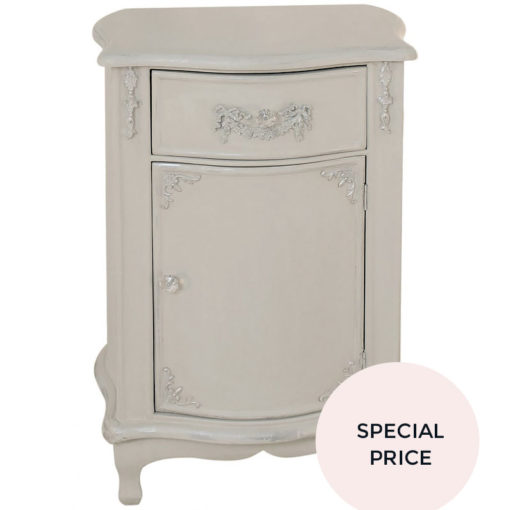 French Vintage Mocha Wooden Bedside Cabinet With Embossed Scrolls
