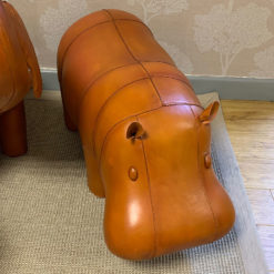 Genuine Handmade Leather Hippo Character Animal Stool Footstool Pouffe