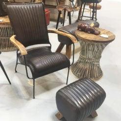 Genuine Leather Black Industrial Retro Vintage Style Chair