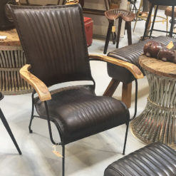 Genuine Leather Black Industrial Retro Vintage Style Chair