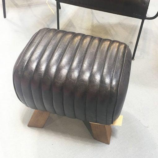 Genuine Leather Black Pommel Stool Footstool Retro Vintage Seat