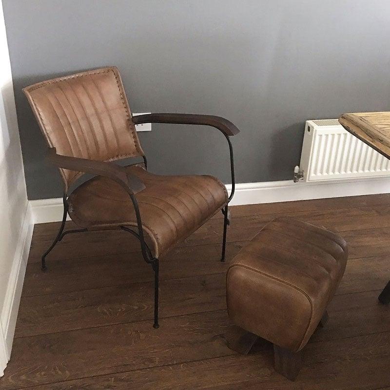 Vintage Style Chairs: Genuine Leather Walnut Brown Industrial Retro Vintage