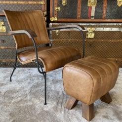 Genuine Leather Walnut Brown Industrial Retro Vintage Style Chair