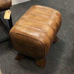Genuine Leather Walnut Brown Pommel Stool Footstool Vintage Seat