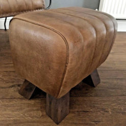 Genuine Leather Walnut Brown Pommel Stool Footstool Vintage Seat