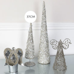 Grey & Cream Beaded Table Top Christmas Tree Decoration Ornament 37cm