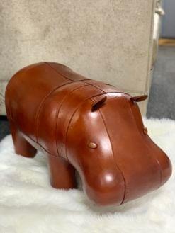 Genuine Handmade Leather Hippo Character Animal Stool Footstool Pouffe