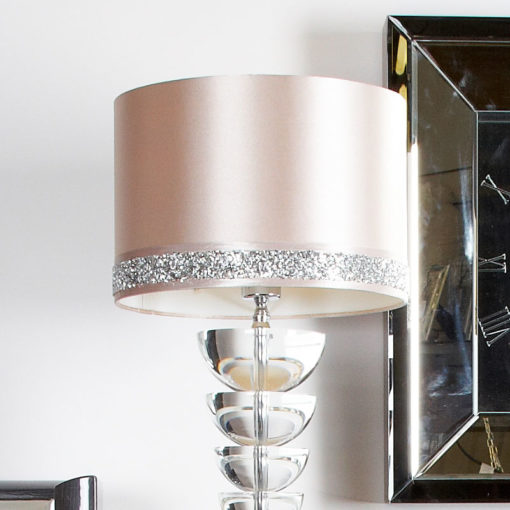 Illuminated Crystal Spine Table Lamp With A Pink Diamond Glitz Shade