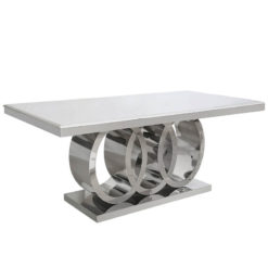 Josephine Marble Dining Table With A Chrome Interlocking Curve Base