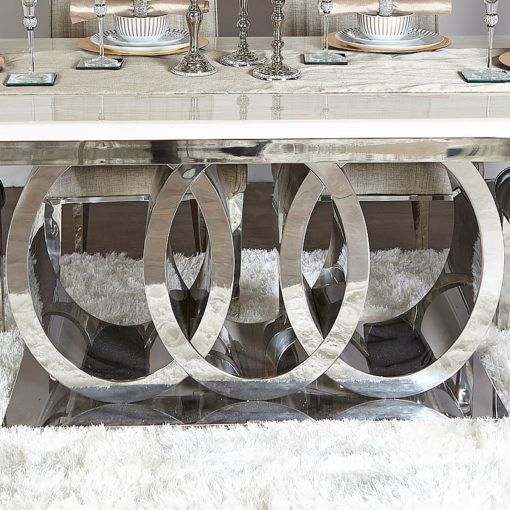 Josephine Marble Style Dining Table With A Chrome Interlocking Base