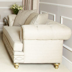 Kalia Cream Luxurious Handmade 2 Seat Sofa With Accent Cushions