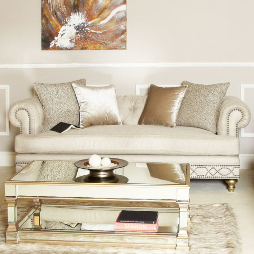 Kalia Cream Luxurious Handmade 3 Seat Sofa With Accent Cushions
