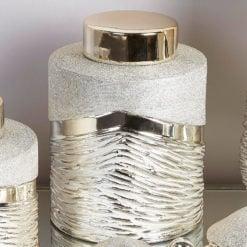 Large Champagne Bonbon Storage Jewellery Jar Handcrafted In Ceramic
