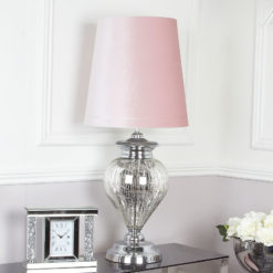 Large Chrome Glass Regency Statement Table Lamp With Pink Shade
