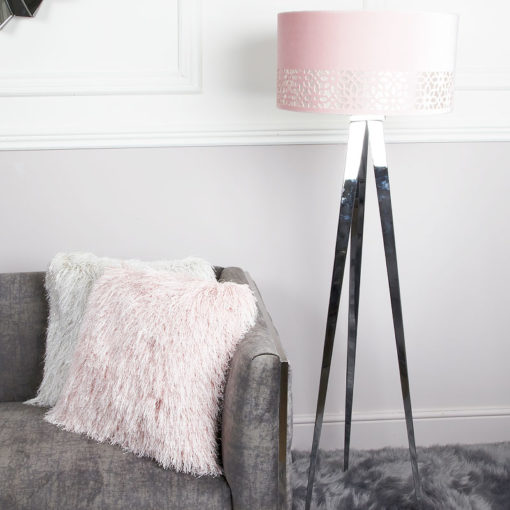 Large Chrome Hollywood Floor Lamp With 19-inch Blush Pink Shade