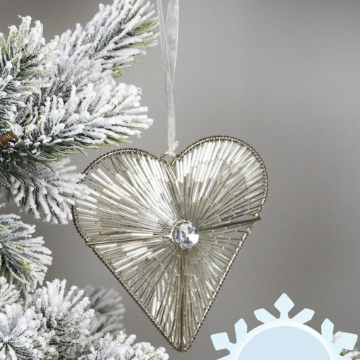 Love Heart Silver Christmas Tree Decoration