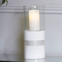 Madison White 38cm Ceramic Glitz And White Hurricane Candle Holder