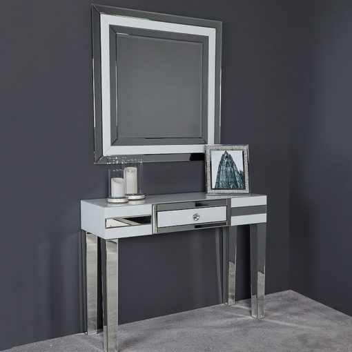 Madison White Glass Trim Large Square Wall Bedroom Mirror