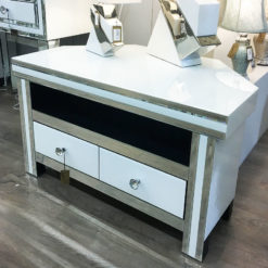 Madison White Mirrored Glass Corner 2 Drawer TV Cabinet Stand Unit