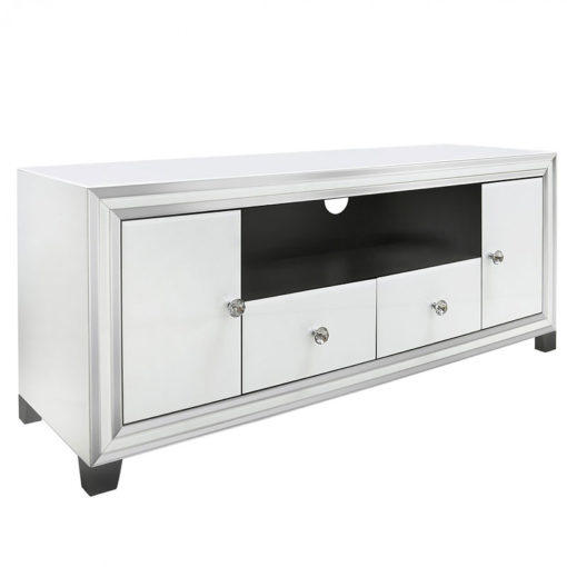 Madison White Mirrored Glass Large 2 Drawer 2 Door TV Entertainment Cabinet Stand