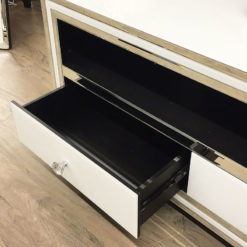 Madison White Mirrored Glass Large 2 Drawer TV Cabinet Stand