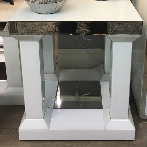 Madison White Mirrored Glass Pillar Leg End Side Table Bedside Table