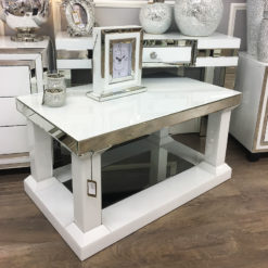 Madison White Mirrored Glass Small Coffee Table