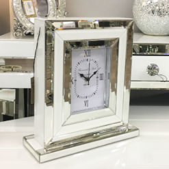 Madison White Mirrored Table Clock