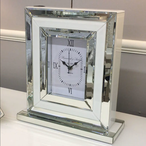 Madison White Mirrored Table or Mantle Clock