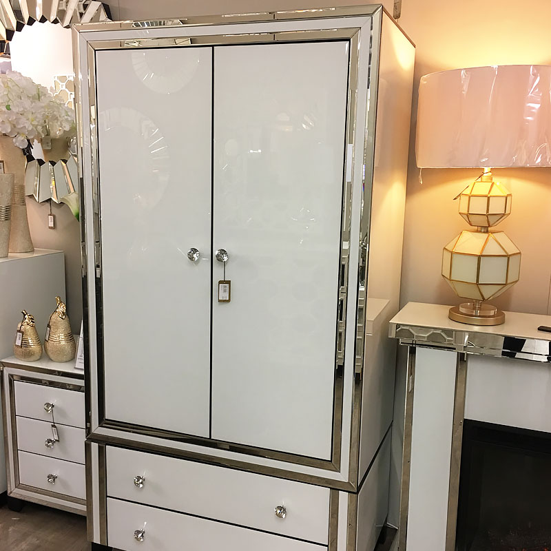 Madison White Premium Mirrored Glass 2 Drawer 2 Door ...