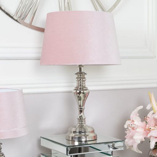 Medium Cast Chrome Table Lamp With Pink Shade