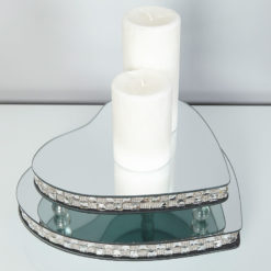 Medium Chequered Silver Mirror Heart Candle Plate With Feet