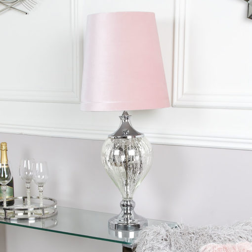Medium Chrome Glass Regency Statement Lamp With Pink Shade