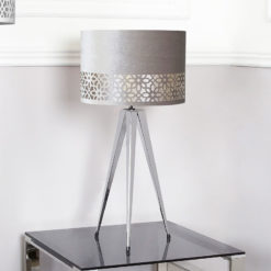 Medium Chrome Hollywood Table Lamp With Grey Shade